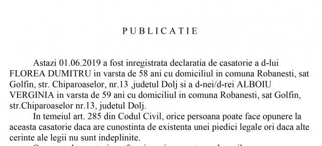 Publicatie stare civila din 1.06.2019