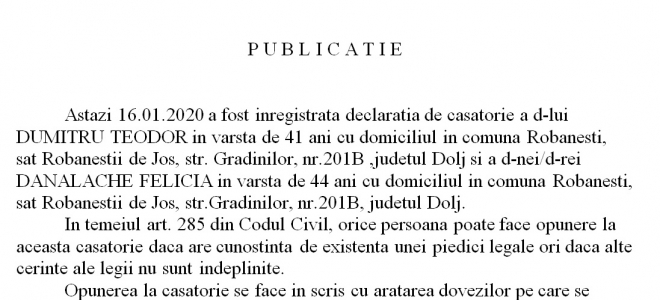 Publicatie stare civila din 16.1.2020