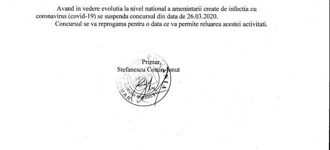 Anunt privind selectia dosarelor candidatilor inscrisi la concursul privind functia publica vacanta de inspector clasa I