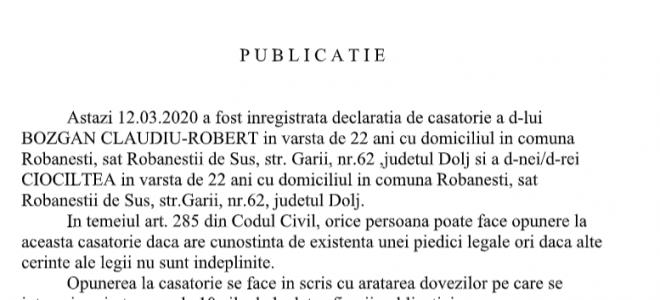 Publicatie stare civila din 12.3.2020