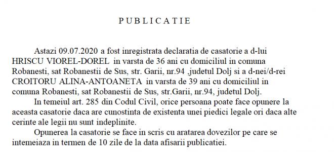 Publicatie stare civila din 09.07.2020