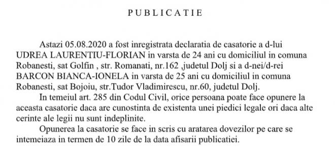 Publicatie stare civila din 05.08.2020