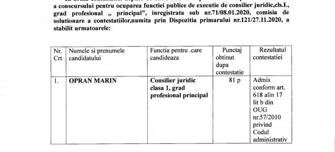 Anunt in urma contestatiei depuse pentru functiei publice de executie de consilier juridic cls. 1 grad profesional principal