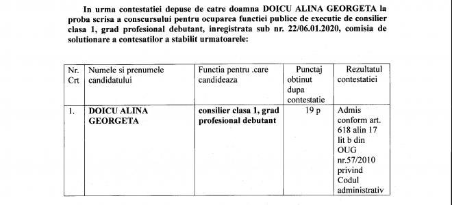 Anunt in urma contestatiei depuse la proba scrisa la concursul pentru ocuparea functiei publice de executie de consilier clasa 1