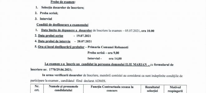 Anunt privind selectia dosarelor pentru functia de CANTONIER
