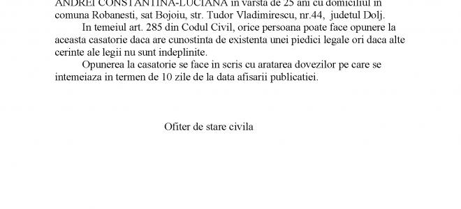 Publicatie stare civila din data de 16.09.2021