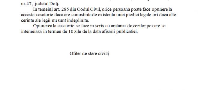 Publicatie stare civila din 09.09.2021